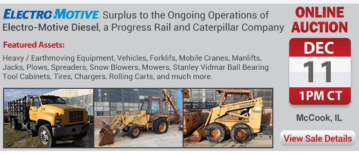 Online Auction of Heavy Equipment, Rolling Stock, Forklifts, Manlifts, and more