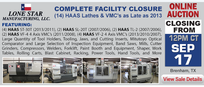 Complete Facility Closure - (14) HAAS Lathes & VMC's as Late as 2013