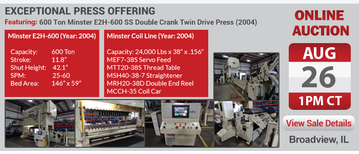 600 Ton Minster Press Auction