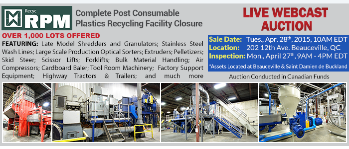 Recyc RPM - Complete Closure of (2) Post Consumer Plastics Recycling Facilities