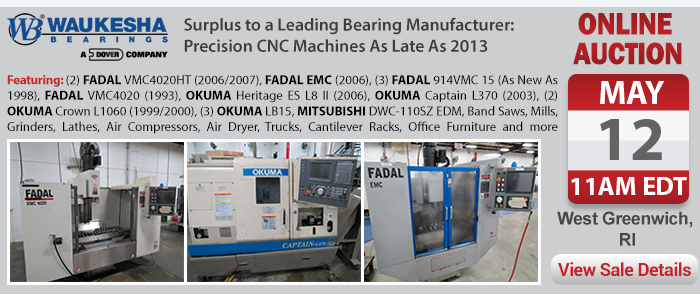 Surplus to a Leading Bearing Manufacturer - Precision CNC Machines As Late As 2013