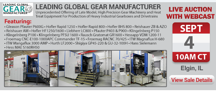 Leading Global Gear Manufacturer - Live Webcast Auction