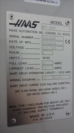Used HAAS ST-30Y   33630   Perfection Industrial Sales Haas Sl Wiring Diagram on