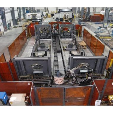 MOTOMAN ROBOTIC WELDING CELL W/ (4) 6-AXIS ROBOTS, MILLER WELD PACKAGES, POSITIONERS