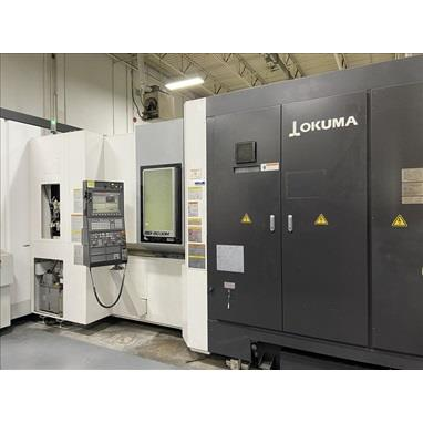 OKUMA MB5000H CNC 4-AXIS HORIZONTAL MACHINING CENTER W/ PALLETACE C-750 12-PALLET LINEAR STORAGE SYSTEM